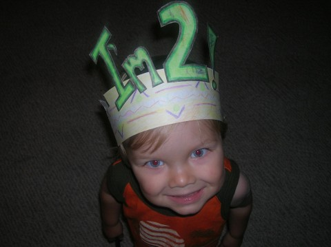 Cade finally decided it was ok to wear his birthday crown that we worked so hard on!